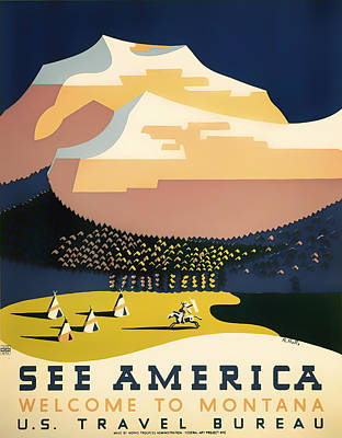 Vintage Montana Travel Poster 1937 Art Print by Mountain Dreams