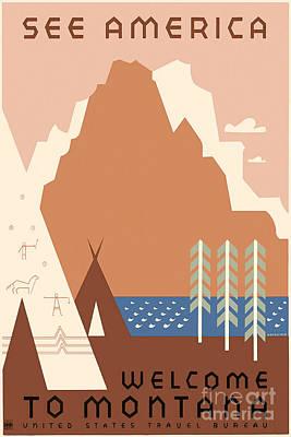 Montana Drawing - Vintage Montana Travel Poster by Jon Neidert