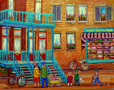 Painting - Vintage Montreal Candy Store Street Scene Paintings Of Montreal Carole Spandau by Carole Spandau