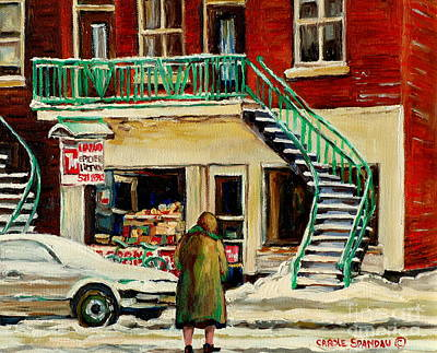 Montreal Storefronts Painting - Vintage Montreal Art Verdun Depanneur Winter Scene Paintings Staircases And 7up Signs Carole Spandau by Carole Spandau