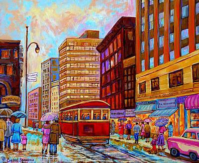 Montreal Storefronts Painting - Vintage Montreal St.catherine And University With Streetcar by Carole Spandau