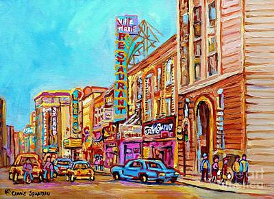 Montreal Restaurants Painting - Vintage Montreal Street Saint Catherine Street Downtown Summer City Scene Carole Spandau by Carole Spandau