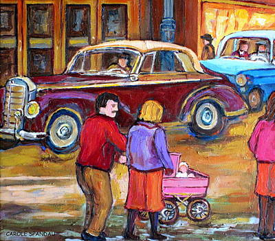Couples Painting - Vintage Montreal Street Scene-couple With Baby Carriage by Carole Spandau