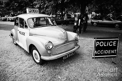 Vintage Morris Minor Police Car At A Car Rally County Down Northern Ireland Uk Art Print by Joe Fox
