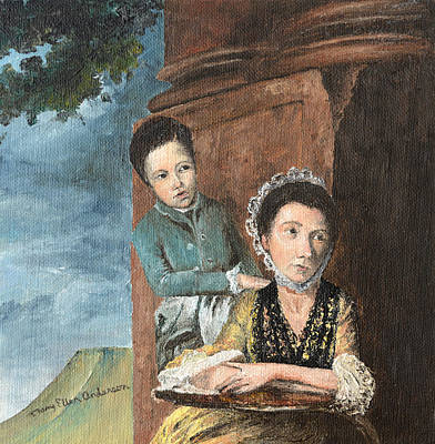 Art Print featuring the painting Vintage Mother And Son by Mary Ellen Anderson