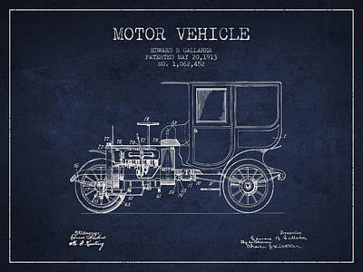 Cord Digital Art - Vintage Motor Vehicle Patent From 1913 by Aged Pixel
