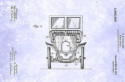 Inventions Painting - Vintage Motor Vehicle Patent From 1913 by Celestial Images