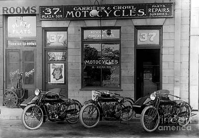 Vintage Motorcycle Dealership Print by Jon Neidert