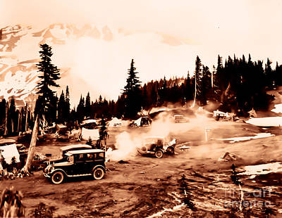 Vintage Mount Rainier Cars And Camp Grounds Early 1900 Era... Art Print