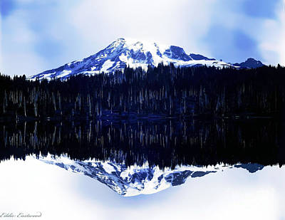Vintage Mount Rainier From Reflection Lake Early 1900 Era... Art Print