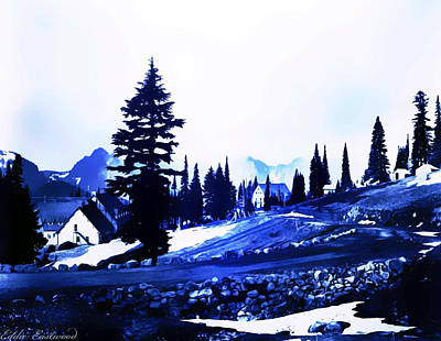 Vintage Mount Rainier Lodge Early 1900 Era... Print by Eddie Eastwood
