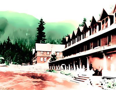 Vintage Mount Rainier National Park Inn Early 1900 Era... Art Print