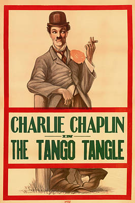 1910s Mixed Media - Vintage Movie Poster - Charlie Chaplin In The Tango Tangle 1914 by Mountain Dreams