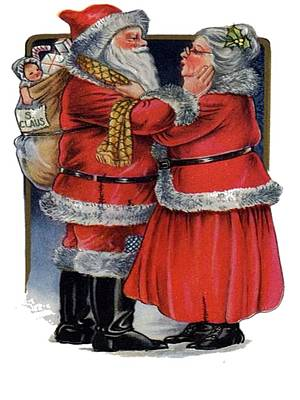 Vintage Mr And Mrs Claus Print by Tracey Harrington-Simpson