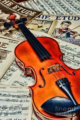 Vintage Music And Violin Art Print by Paul Ward