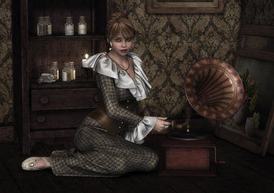 Listening Digital Art - Vintage Music by Rachel Dudley