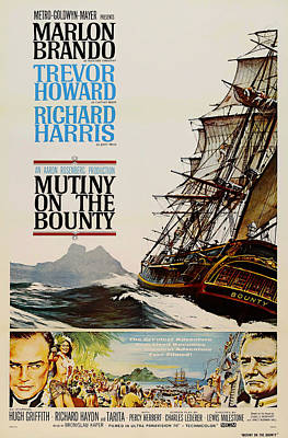 Howard Drawing - Vintage Mutiny On The Bounty Movie Poster 1962 by Mountain Dreams