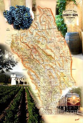 Vintage Napa Valley Map Art Print by Jon Neidert