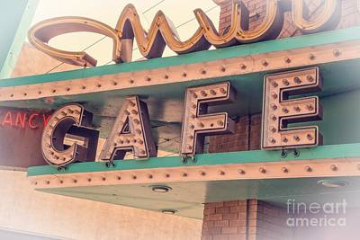 Photograph - Vintage Neon Cafe Sign Livingston Montana by Edward Fielding