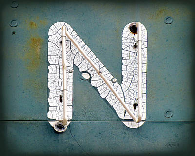 Photograph - Vintage Neon  Letter N by Ann Powell