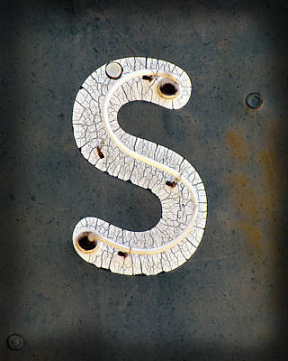 Photograph - Vintage Neon Letter S  by Ann Powell