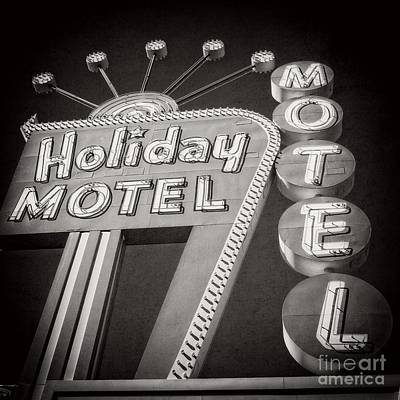The Strip Photograph - Vintage Neon Sign Holiday Motel Las Vegas Nevada by Edward Fielding