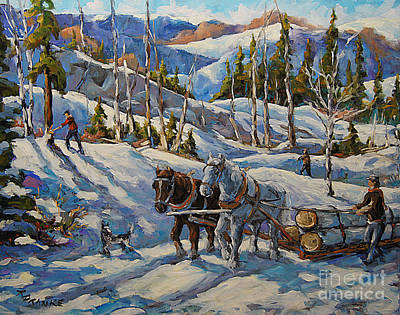Winter Scenes Painting - Vintage New England Loggers By Prankearts by Richard T Pranke