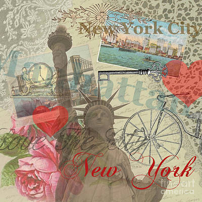 Nyc Digital Art - Vintage New York City Collage by Mary Hubley