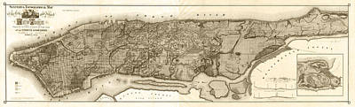 Old Map Photograph - Vintage New York City Topographical Map - Sepia by Stephen Stookey
