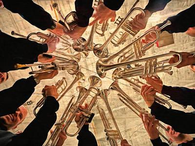 Trombone Mixed Media - Vintage Night Of Music by Georgiana Romanovna