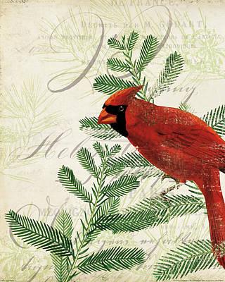 Vintage Bird Painting - Vintage Noel II by Katie Pertiet
