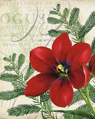 Christmas Flower Painting - Vintage Noel IIi by Katie Pertiet