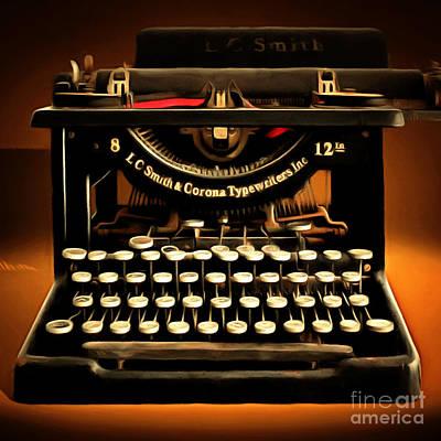 Typewriter Keys Photograph - Vintage Nostalgic Typewriter 20150302 Square by Wingsdomain Art and Photography