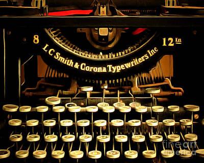 Vintage Nostalgic Typewriter 20150302n2 Horizontal Art Print by Wingsdomain Art and Photography