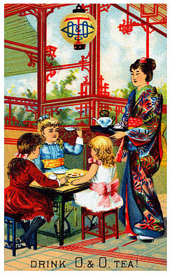 Japanese Geisha Girls Painting - Vintage O And O Tea Poster by Historic Image