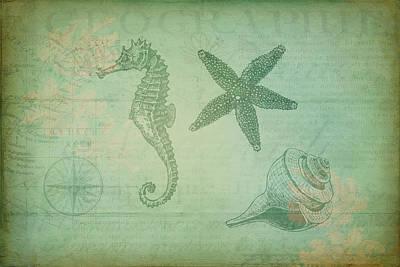 Digital Art - Vintage Ocean Animals by Peggy Collins