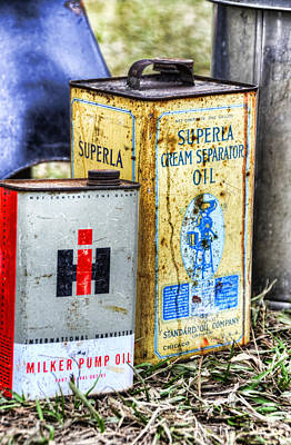 Photograph - Vintage Oil Cans On The Farm by Ken Smith