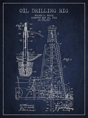 Living Room Decor Drawing - Vintage Oil Drilling Rig Patent From 1911 by Aged Pixel