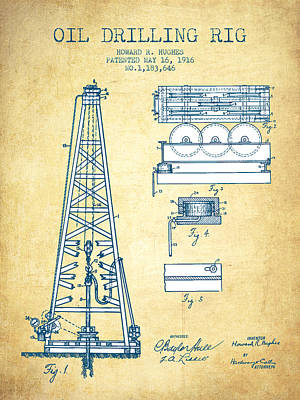 Oil Drilling Rig Patent From 1916 - Vintage Paper Art Print by Aged Pixel