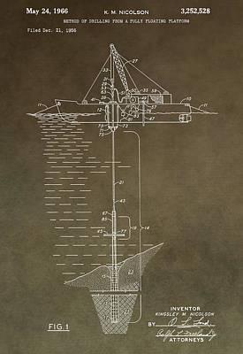 Vintage Oil Platform Patent Art Print by Dan Sproul