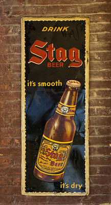 Photograph - Vintage Old Drink Stag Beer Sign Dsc07183 by Greg Kluempers