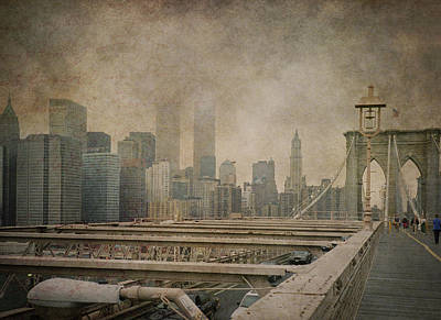 Photograph - Vintage Old New York City Skyline With Twin Towers And Brooklyn Bridge by Joann Vitali