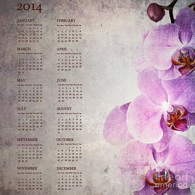 Vintage Orchid Calendar For 2014 Art Print