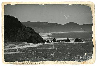 Mixed Media - Vintage Oregon Coast Bw 1 by Chalet Roome-Rigdon
