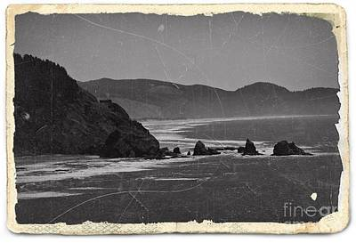 Mixed Media - Vintage Oregon Coast Bw 2 by Chalet Roome-Rigdon
