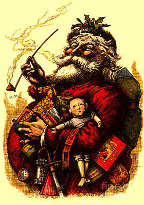Mixed Media - Vintage Original Coca Cola Red Santa Claus Poster by R Muirhead Art