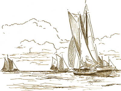 Drawing - Vintage Oyster Schooners  by Nancy Patterson