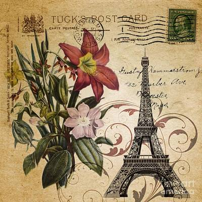 Recently Sold - Surrealism Digital Art Rights Managed Images - Vintage Paris Eiffel Tower Paris Lily Flower Royalty-Free Image by Cranberry Sky