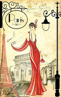Vintage Paris Woman Art Print by Greg Sharpe