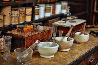 Aged Wood Digital Art - Vintage Pharmacy Items by Maria Angelica Maira